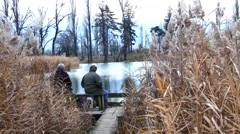 Sitting by the Lake, France Stock Footage