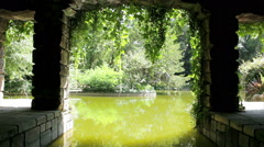 Porto Serralves pond and garden view from rest area Stock Footage