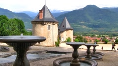 St Hilaire Du Touvet Chateau Gardens, French Alps, France Stock Footage