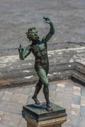 Bronze statue in House of the Faun, Pompeii, Italy Stock Photos