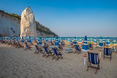 Panorama of Vieste beach, Gargano natural park, Puglia, Italy - stock photo