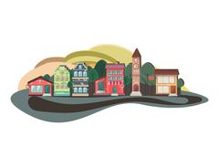 Colorful nature flat design landscape, cityscape, urban, shadow Stock Illustration