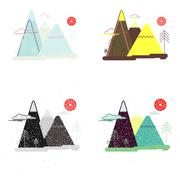 Colorful set of flat landscape. Nature, mountains, trees Stock Illustration