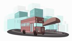 Urban ?olorful vector illustration of city bus Stock Illustration
