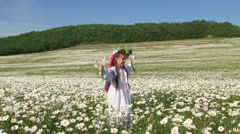 Cute Girl In Having Fun In The Field Of Chamomiles - stock footage