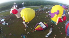 Hot ir balloons seen from above Stock Footage