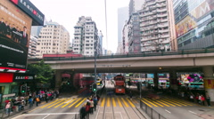 Hong Kong business centre tram frontview Timelapse Stock Footage