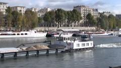 Cargo Barges on the Seine River, Paris, France Stock Footage