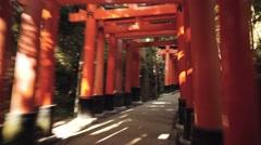 POV time-lapse through the famous orange gates at Fushimi Inari Shinto shrine Stock Footage
