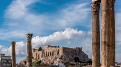 Acropolis / Temple of Olympian Zeus - Athens, Greece Stock Footage