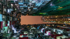 Hong Kong residential area at nigth Stock Footage