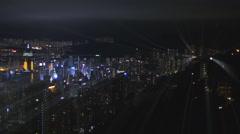Light beams Hong Kong metropolis 4K Stock Footage