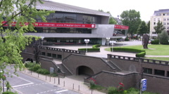 Main road with theater building in central Bonn - stock footage
