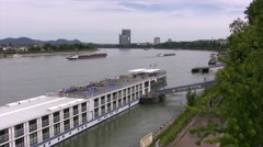 View looking onto the Rhine river from Kennedy bridge in Bonn Stock Footage