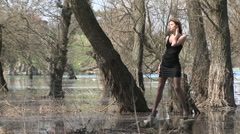 Model Posing At Park Zone In Flood Stock Footage