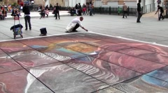 Street Art, Chalk artist, Paris, France Stock Footage