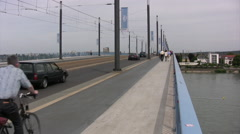 Cars and people on Kennedy bridge in Bonn Stock Footage