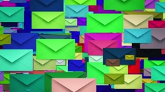 Envelopes in various colors Stock Footage
