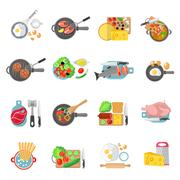 Home cooking flat icons set - stock illustration