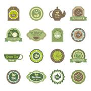 Green tea labels icons set - stock illustration