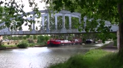 French Canal barge, Canal du Midi, France Stock Footage
