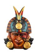 Indian Mayan Aztec ceramic painted mask isolated on white - stock photo