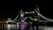 Stock Video Footage of Tower bridge overview in London, United Kingdom at night