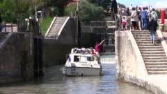Beziers, France - boat navigating the canal locks (with sound) Stock Footage