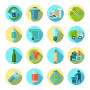 Waste Sorting Round Icons Set - stock illustration