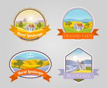 Rural Landscape Set Stock Illustration