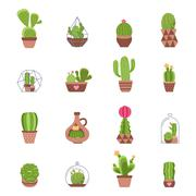 Cactus Icons Set - stock illustration