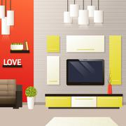 Living Room Interior - stock illustration