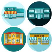 Cafe Flat Set Stock Illustration