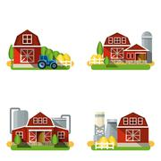Farm Flat Set - stock illustration
