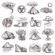 Natural Disaster Sketch Icon Set Stock Illustration