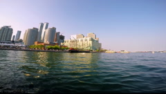Tour Boat Approaching Toronto Harbourfront Stock Footage