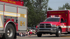 Emergency Vehicles in 4th of July parade 4k - stock footage