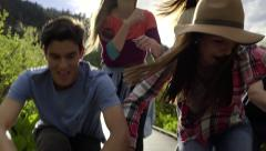 Friends Dance Together To Music On Girl's Smart Phone (Slow Motion) Stock Footage