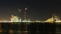 Refinery At Night Time Lapse in 4K Stock Footage