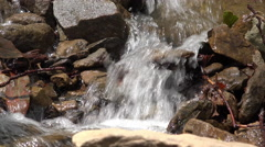 Stream flowing through rock ground in woods 4k Stock Footage