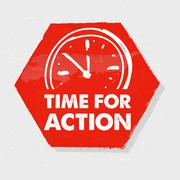 time for action with clock, grunge hexagon label with sign - stock illustration