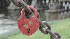 Love Locks mounted on Bridge Stock Footage