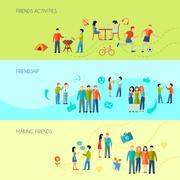 Friendship Banners Set - stock illustration
