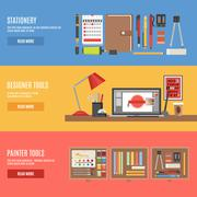 Painter And Designer Tools Banner Set Stock Illustration