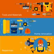 Home repairs and renovation banners Stock Illustration