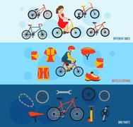 Bicycle accessories flat banners set - stock illustration