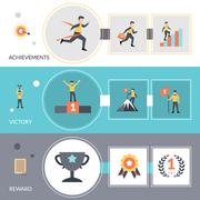Success Banners Set - stock illustration