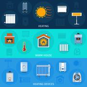 Heating Device Banner Set Stock Illustration