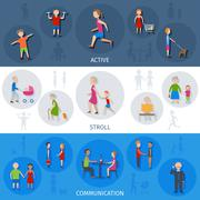 Lifestyle People Banner Set - stock illustration