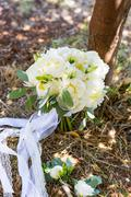 bridal bouquet of white peonies - stock photo